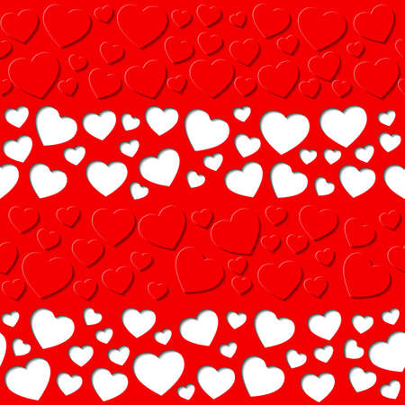 red sheet: Paper hearts were cut out on the red sheet. Seamless pattern