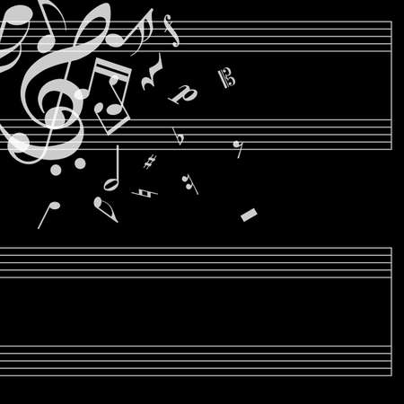 stave: Musical poster with stave and notes on black background. Simple concept for your album. Cover for music notebook