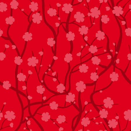 infinitely: Tree of sakura with flowers. Infinitely curly branches. Oriental style. Seamless pattern with red background