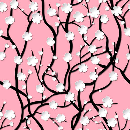 infinitely: Tree of sakura with flowers. Infinitely curly branches. Oriental style. Seamless pattern with pink background