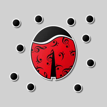 dress code: Abstract ladybug change its dots to music notes. Sticker style. Be another. Change clothes. Music summer. Dress code