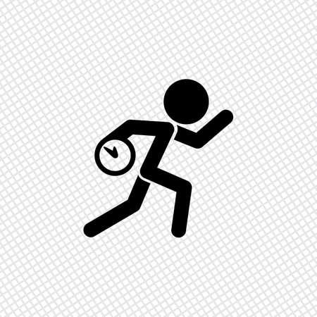Funcionamiento del hombre con el reloj. Icono simple. Para llegar tarde. Una situación desagradable