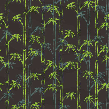 Colorful bamboo is drawed on gray chalkboard. Seamless Pattern