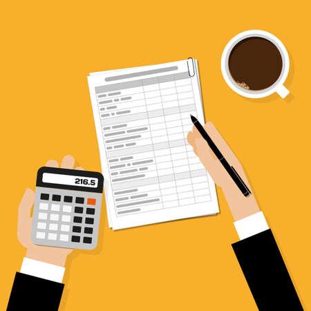 Financiële berekeningen. Werkproces met een kopje koffie. bovenaanzicht Vector Illustratie