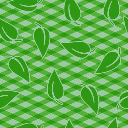 picnic cloth: Green cloth for table with leaf. Seamless pattern. Checkered plaid for picnic