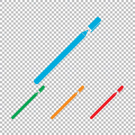 pen and marker: Pen or marker icon. Color set with transparent grid