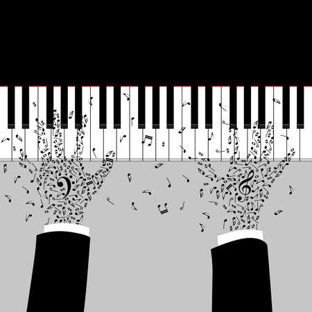 clave de fa: las manos del m�sico est�n jugando en el piano. Silueta con teclas de nota. Tatuaje de la clave de sol y bajo en las manos. cartel de la m�sica