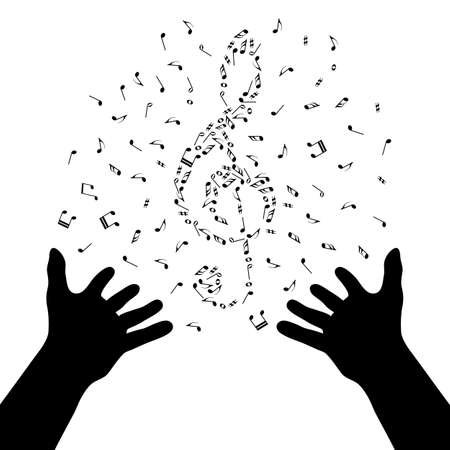 Silhouette of hands are creating the violin by note clef. Music poster. Magic of music. Live nusic. Mastermind-conductor