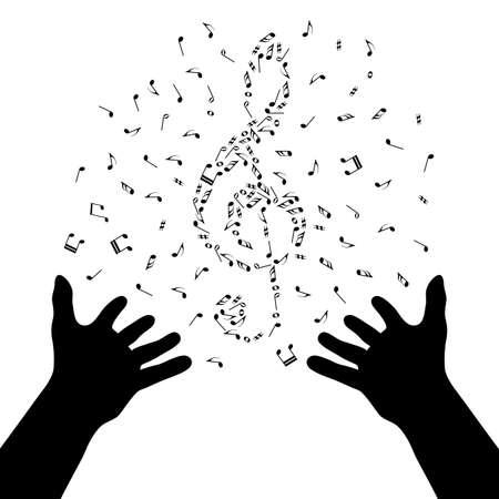 Silhouette rąk tworzą skrzypce notatki. Plakat muzyczny. Magia muzyki. Live nusic. Mastermind-dyrygent