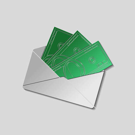 payola: Envelope with money. Paper style with shadow and cutted silhouette of 100 dollar