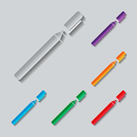 pen and marker: Pen or marker icon set. paper design with colored objects