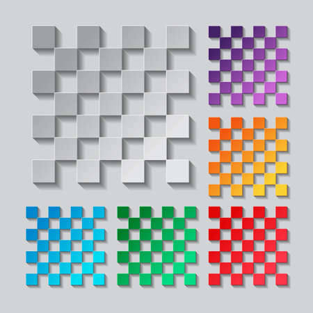 grid paper: Transparency grid. Seamless pattern set. paper design with colored objects
