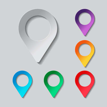 tip style design: Map label icon set. paper design with colored objects