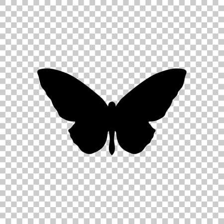 Schmetterling Symbol. Schwarze Ikone auf transparentem Hintergrund.
