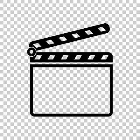 Film clap board cinema open icon. Black icon on transparent background. Vettoriali