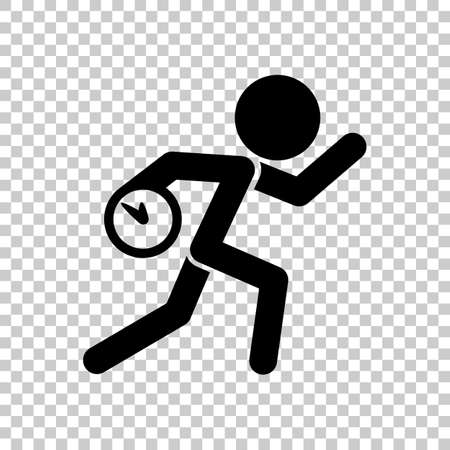 unpleasant: Running man with clock. Simple icon. To be late. An unpleasant situation. Black icon on transparent background.