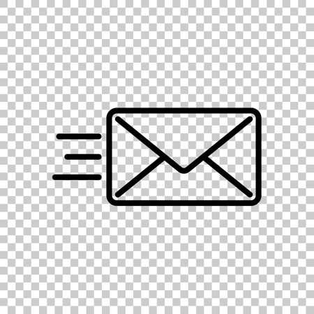 send mail icon. sms line. Black icon on transparent background. Illustration