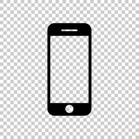 Icône de téléphone portable. Icône noire sur fond transparent. Banque d'images - 69002484