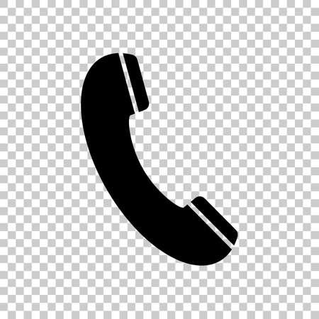 Telephone receiver icon. Black icon on transparent background. 版權商用圖片 - 69002485