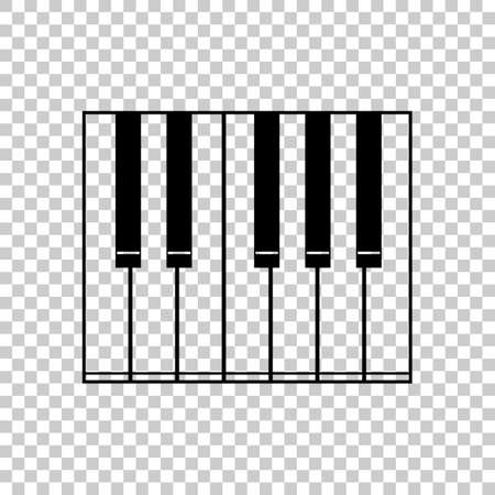 Simple piano icon. Black icon on transparent background.