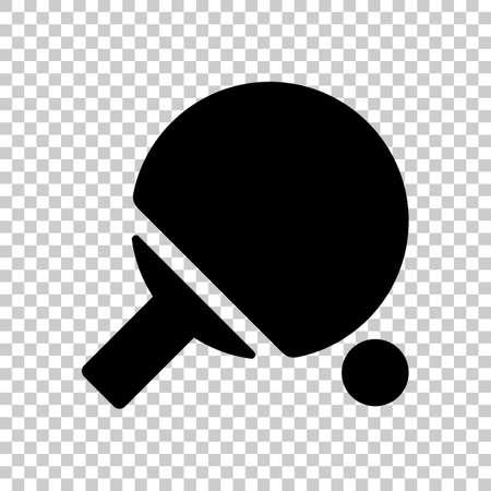 Ping pong icône. icône noire sur fond transparent. Banque d'images - 69002490