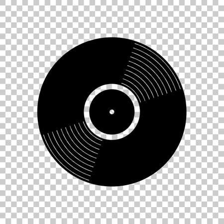 Vinyl-Symbol. Schwarze Ikone auf transparentem Hintergrund.