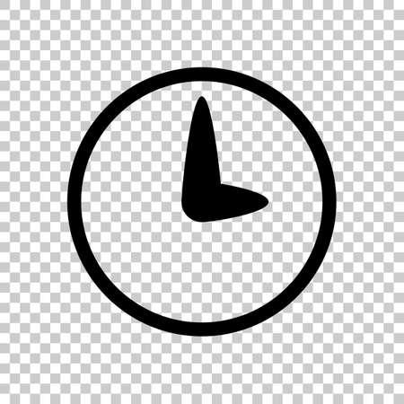Icône simple de l'horloge. Icône noire sur fond transparent. Banque d'images - 69002502