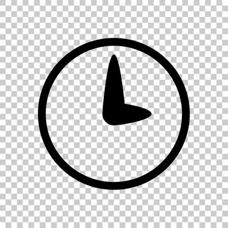 Simple icon of clock. Black icon on transparent background.