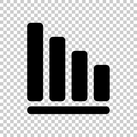 descending: Declining graph line icon. Black icon on transparent background. Illustration