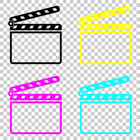 Film clap board cinema open icon. Colored set of cmyk icons on transparent background. Vettoriali