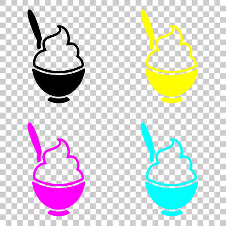 ice cream or porridge in bowl icon. Colored set of cmyk icons on transparent background.