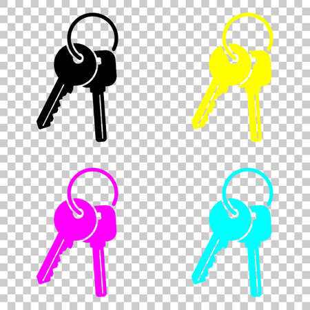keys on the ring icon. Colored set of cmyk icons on transparent background. Illustration