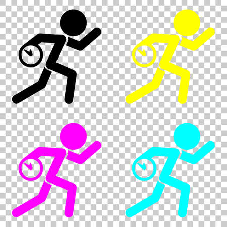 llegar tarde: Running man with clock. Simple icon. To be late. An unpleasant situation. Colored set of cmyk icons on transparent background.