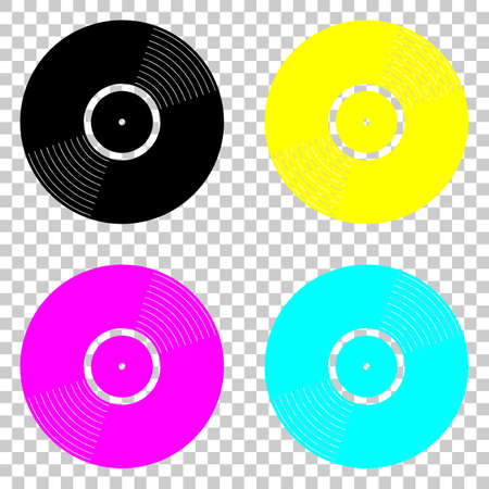 vinyl icon. Colored set of cmyk icons on transparent background.