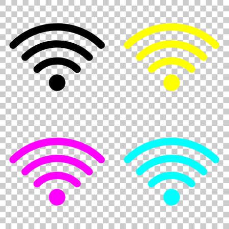 wi-fi アイコン。色の cmyk アイコンの背景を透明に設定します。