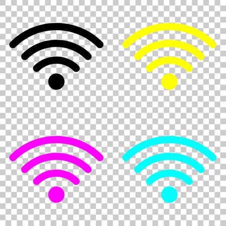 wi-fi icon. Colored set of cmyk icons on transparent background.