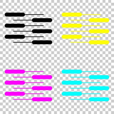 Double piano keyboard icon. Duet. Competition, Vertical view. Colored set of cmyk icons on transparent background.