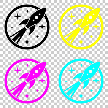 fire circle: rocket launch with stars in circle icon. Colored set of cmyk icons on transparent background.