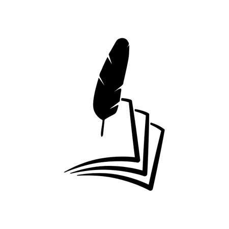 Feather and papers simple silhouette icon