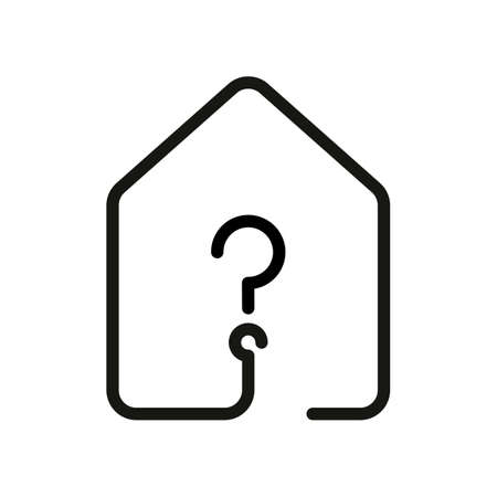 House with question mark icon in line style illustration.