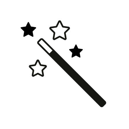 Magic wand with stars. simple silhouette Çizim