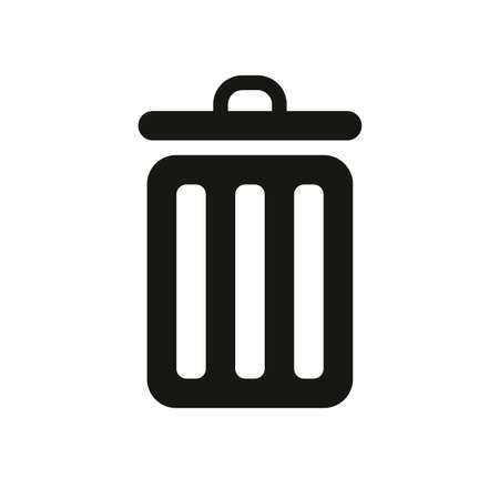Trash bin in simple icon illustration on white background.