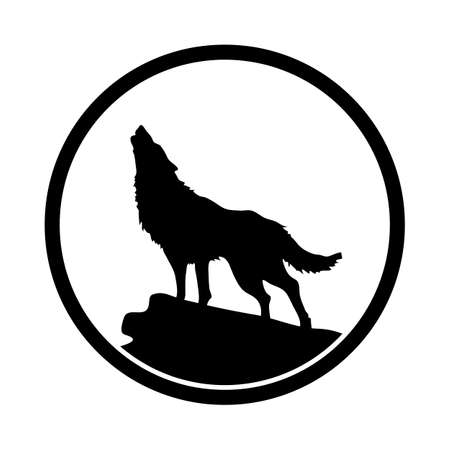 Wolf in simple icon, silhouette illustration on round frame.