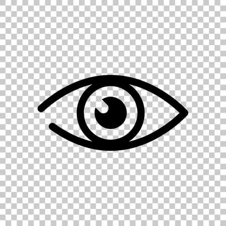 prosta ikona oka na przezroczystym tle. Ilustracje wektorowe