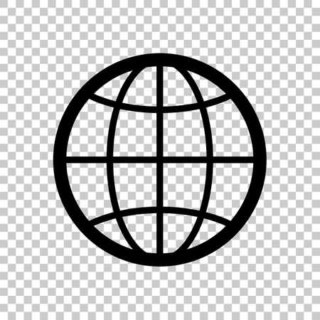 globe, planet  simple silhouette  On transparent background.