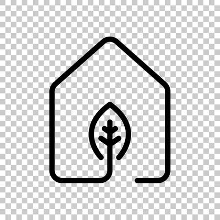 house with eco leaf icon. line style. On transparent background. Illustration