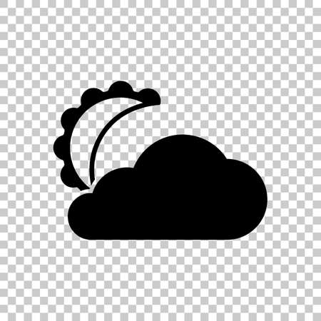 Moon and cloud. simple silhouette. On transparent background.