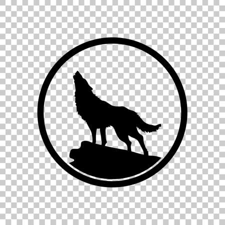 Wolf simple icon on transparent background. Ilustração