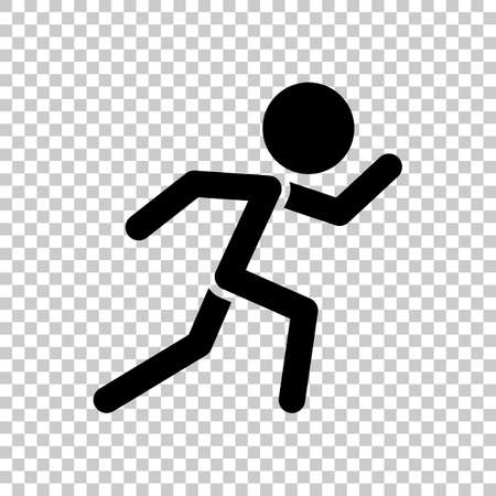 running man simple icon  On transparent background.