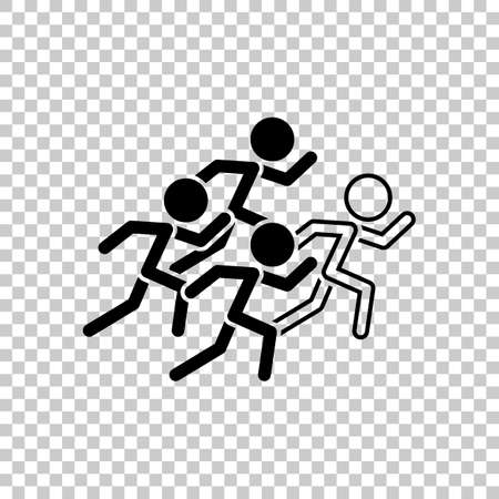 Running people, team with leader on transparent background. Illustration